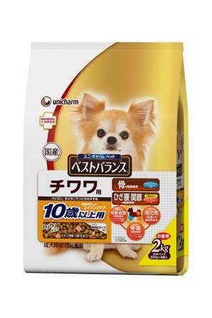[ユニチャーム] 愛犬元気ベストバランス チワワ用10歳以上用 チキン・野菜・小魚・玄米入り2kg