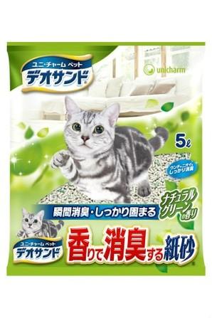 [ユニチャーム] デオサンド香りで消臭する紙砂グリーン5L