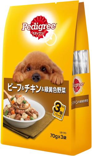 P117 ペディグリー 成犬用 ビーフ&チキン&緑黄色野菜 70g×3袋