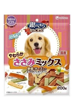 [ユニチャーム] 銀のさら きょうのごほうび やわらかささみミックス 野菜・チーズ入り200g