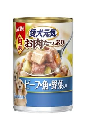 [ユニチャーム] R愛犬元気缶角切りビーフ・魚・野菜375g