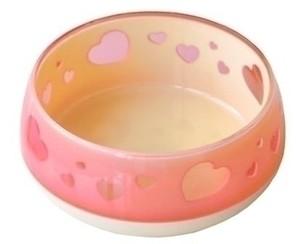 [ペッツルート] おいしく見えるワン食器 S ハート ピンク