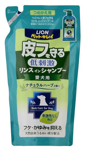 [ライオン商事] ペットキレイ 皮フを守るリンスインシャンプー愛犬用 ナチュラルハーブの香り つめかえ用 400ml