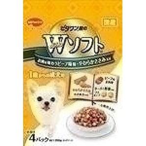 ビタワン君のWソフト 成犬用 お肉を味わうビーフ味粒・やわらかささみ入り 200g