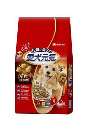 [ユニチャーム] 愛犬元気 ビ-フ・緑黄色野菜・小魚入り 2.3kg