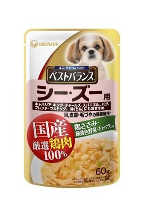 [ユニチャーム] 愛犬元気ベストバランス国産鶏ささみパウチ シーズー用 60g