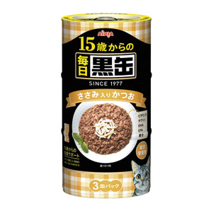[アイシア] 毎日黒缶 15歳からのささみ入りかつお 160g×3P