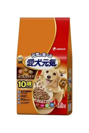 [ユニチャーム] 愛犬元気 10歳以上用 ビ-フ・ささみ・緑黄色野菜・小魚入り 1.8kg