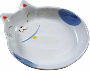 [貝沼産業] 瀬戸焼 猫用食器 猫の耳 青