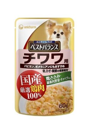 [ユニチャーム] 愛犬元気ベストバランス国産鶏ささみパウチ チワワ用 60g