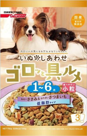 [日清ペットフード] いぬのしあわせ ゴロッと具ルメ 小粒 低脂肪タイプ 1~6歳までの成犬用 ささみ&さつまいも入り 750g