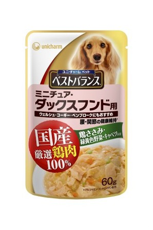 [ユニチャーム] 愛犬元気ベストバランス国産鶏ささみパウチ ミニチュア・ダックスフンド用 60g