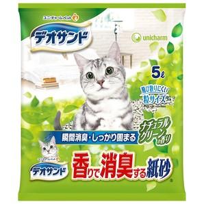 [ユニチャーム] デオサンド 香りで消臭する紙砂 ナチュラルグリーンの香り 5L