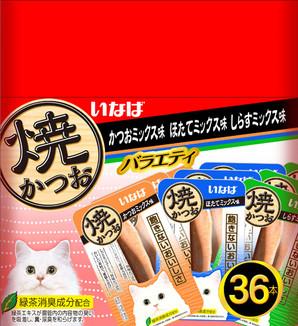 [いなばペットフード] 焼かつお成猫用 バラエティパック 36本