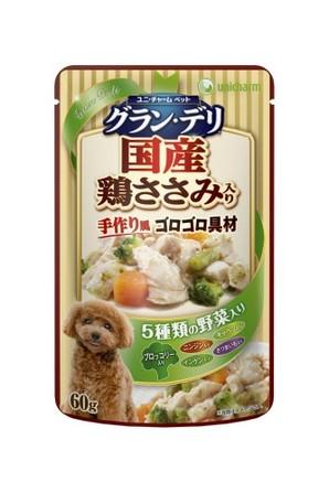 [ユニチャーム] 愛犬元気グラン・デリパウチ 成犬用 鶏ささみ・ブロッコリー入り 60g
