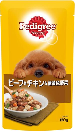 P105 ペディグリー 成犬用 ビーフ&チキン&緑黄色野菜 130g