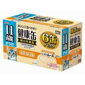 [アイシア] 健康缶 11歳からのしっとりムース ささみとまぐろ 6P