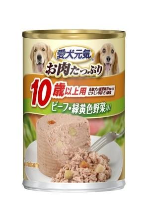 [ユニチャーム] 愛犬元気 缶 10歳からの愛犬用 ビーフ&緑黄色野菜入り 375g