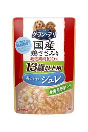 [ユニチャーム] 銀のさらパウチ 国産鶏ささみ入り ジュレ 13歳からの愛犬用 緑黄色野菜入り 80g