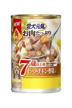 [ユニチャーム] R愛犬元気缶角切7歳ビーフチキン野菜375g