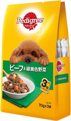 P115 ペディグリー 成犬用 ビーフ&緑黄色野菜 70g×3袋