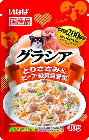[いなばペットフード] グラシアパウチ とりささみ&ビーフ・緑黄色野菜 40g