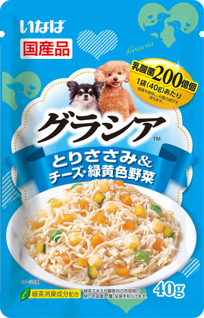 [いなばペットフード] グラシアパウチ とりささみ&チーズ・緑黄色野菜 40g