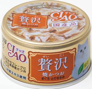 [いなばペットフード] CIAO 贅沢焼かつお まぐろ・とりささみ 80g