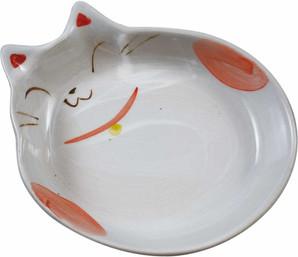 [貝沼産業] 瀬戸焼 猫用食器 猫の耳 赤