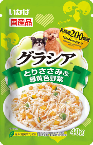 [いなばペットフード] グラシアパウチ とりささみ&緑黄色野菜 40g