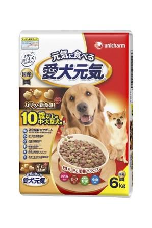 [ユニチャーム] 愛犬元気 10歳以上の中・大型犬用 ビーフ・ささみ・緑黄色野菜・小魚入り 6.0kg