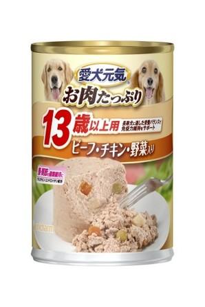 [ユニチャーム] 愛犬元気缶 13歳からの愛犬用 ビ-フ&チキン・野菜 375g