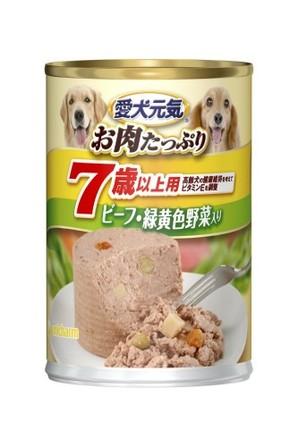 [ユニチャーム] 愛犬元気 缶 7歳からの愛犬用 ビーフ&緑黄色野菜入り 375g
