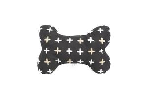 [mog&bone] 骨型おもちゃブラックメタリックチェック