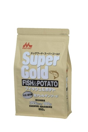 [森乳サンワールド] スーパーゴールド フィッシュアンドポテト 子犬・成犬用 800g