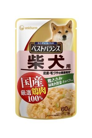 [ユニチャーム] 愛犬元気ベストバランス国産鶏ささみパウチ 柴犬用 60g