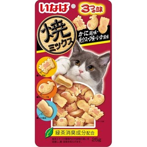 [いなばペットフード] 焼ミックス かに風味・魚介スープ味・いか風味 25g QSC-126
