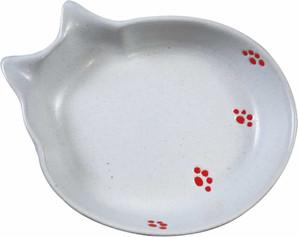 [貝沼産業] 瀬戸焼 猫用食器 猫の耳 足跡柄