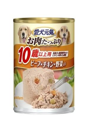 [ユニチャーム] 愛犬元気 缶 10歳からの愛犬用 ビーフ&チキン・野菜入り 375g