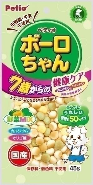 [ペティオ] 体にうれしい ボーロちゃん 7歳からの健康ケア 野菜Mix 45g