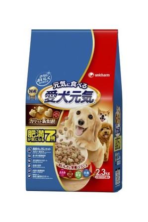 [ユニチャーム] 愛犬元気 肥満が気になる7歳以上用 ささみ・ビ-フ・緑黄色野菜・小魚入り 2.3kg