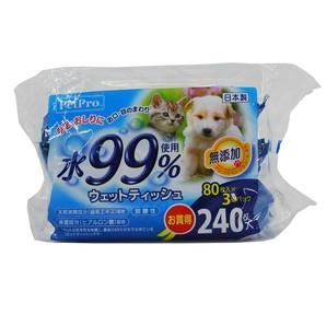 [ペットプロ] ウェットティッシュ 水99% 80枚入×3パック(240枚入)
