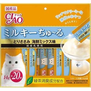 CIAO ミルキー ちゅ~る 20本 とりささみ 海鮮ミックス味 SC-184 (14g×20本)