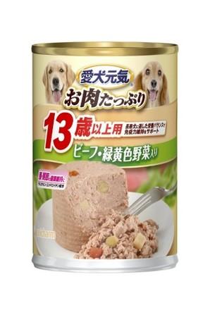 [ユニチャーム] 愛犬元気 缶 13歳からの愛犬用 ビ-フ&緑黄色野菜入り 375g
