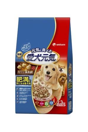 [ユニチャーム] 愛犬元気 肥満が気になる愛犬用 ビーフ・ささみ・緑黄色野菜・小魚入り 2.3kg