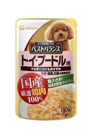 [ユニチャーム] 愛犬元気ベストバランス国産鶏ささみパウチ トイ・プードル用 60g