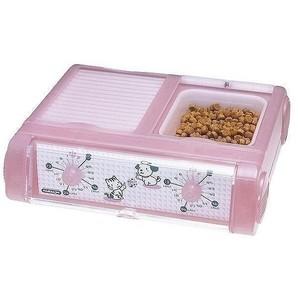 ペット自動給餌器 わんにゃんぐるめ クリア ピンク