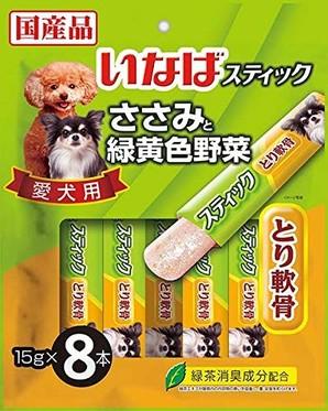 [いなばペットフード] スティック 愛犬用 ささみと緑黄色野菜 とり軟骨 15g×8本