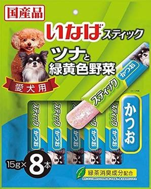 [いなばペットフード] スティック 愛犬用 ツナと緑黄色野菜 かつお 15g×8本
