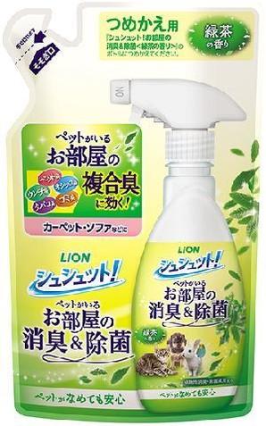 [ライオン商事] シュシュット! お部屋の消臭&除菌 緑茶の香り詰め替え 320ml